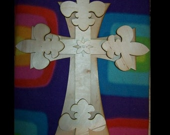 UNFINISHED Wood LAYERED Stack CROSSES Kit style 70 - 15''