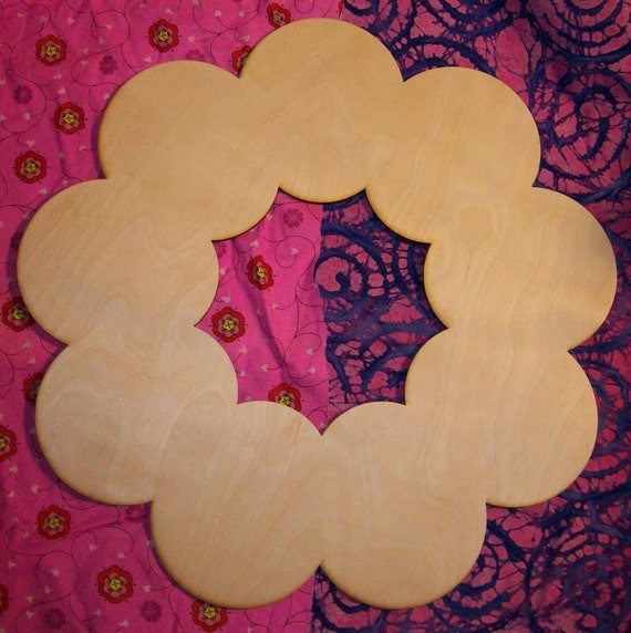 Unfinished wood wooden WREATH shape style 2 - 17.5'' x 17.5""