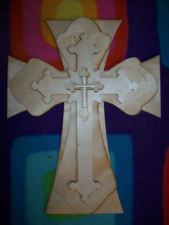 Unfinished wood layered stack crosses kit style 51 for Cheap wooden crosses for crafts