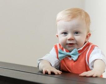 Boys Bow Tie - Sky Blue Spotted White Bow Tie - Bowtie - Toddler Bow tie - Blue Bow Tie - Spotted Bow Tie - White Spotted Bow Tie - Blue Tie