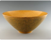 Golden Yellow Etched Porcelain Bowl