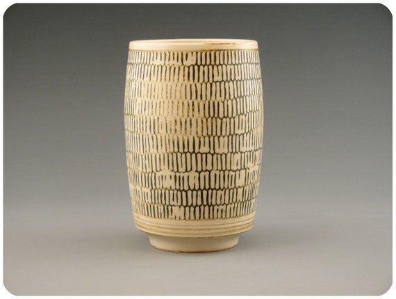 Etched White Porcelain Tumbler