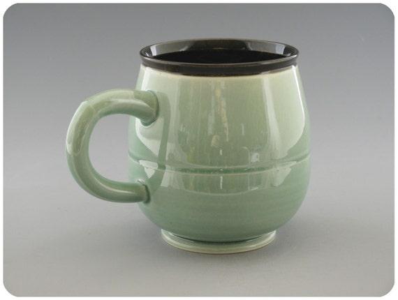 Bluegreen Porcelain Mug Cup With Black Interior