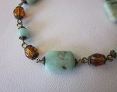 Jewelry Bracelet Sea Green and Amber