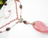 Goldfilled Coral Garnet Strawberry Quartz Necklace Jewelry