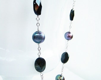 Freshwater Pearls Black Tourmaline Sterling Silver Necklace