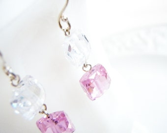 Pink And Clear Cubic Zirconia Earrings