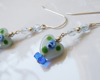 Pale Blue Hearts Blue Rose Buds Sterling Silver Earrings