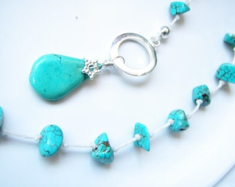 Turquoise Nuggets  Freshwater Coin Pearl Silver Toggle Clasp Necklace
