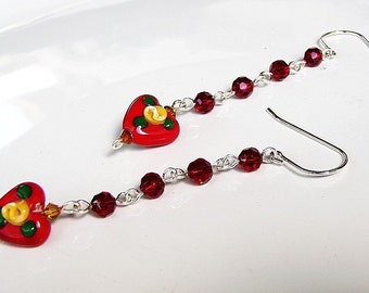 Red Hearts Yellow Rose Buds Red Crystal Earrings