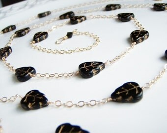 Black Gold Chased Leaves Goldfilled Wire Wrapped Necklace Jewelry