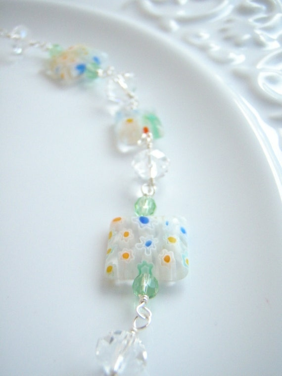 Necklace Square Millifiore Flower Beads Silver Blue Yellow Glass