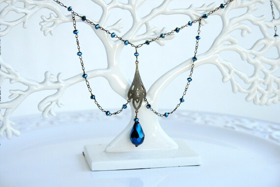 Downton Abbey Style Cobalt Blue Victorian Edwardian  Sterling Silver Necklace