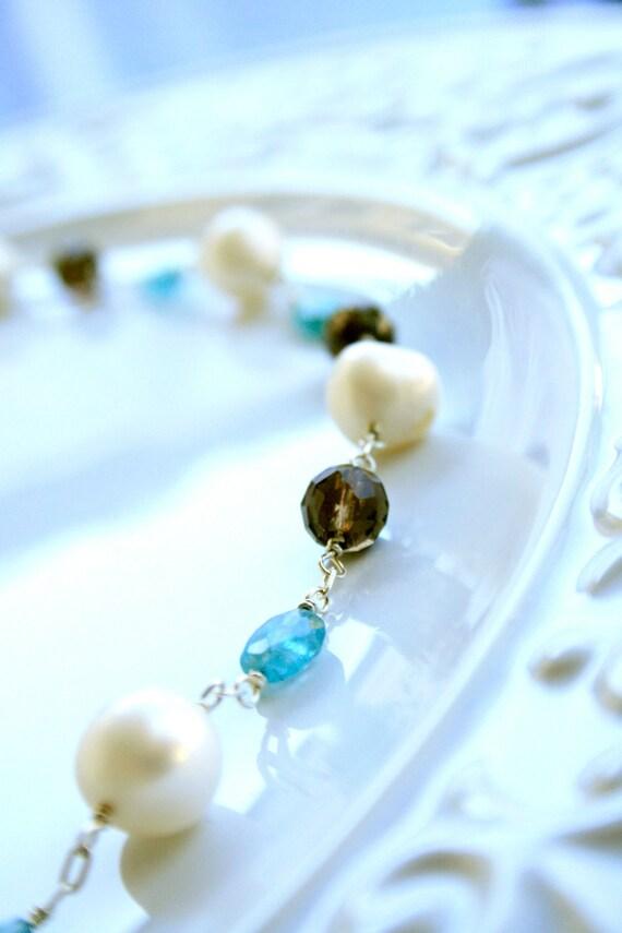 Fresh Water Pearl Smokey Quartz Apatite Sterling Silver Necklace