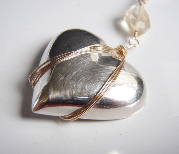 Vintage Silver Heart Gold Filled WireWrapped Citrine Nuggets Necklace