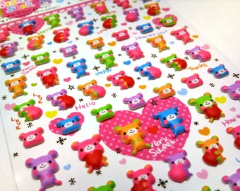 Cute Puffy Japanese Stickers- Kawaii Valentine Colorful Bears by Mind Wave Inc