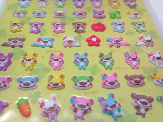 Cute Puffy Japanese Stickers - Adorable Teddy Bears and Bunnies - Kawaii Expressions -