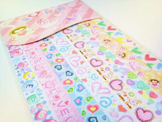 160 origami lucky star paper strips gift pack - Fun colorful Love and Hearts