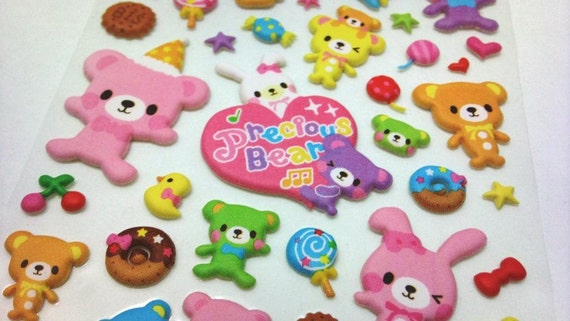 Cute Kawaii Puffy Stickers - Precious Happy Bear Party and Fun - from Mind Wave Inc