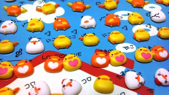Cute Puffy Japanese Stickers- Kawaii Happy Love Birds - Very Cute Expressions - by Mind Wave Inc