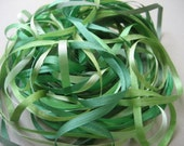 Leafy Greens Mix - 12 metres of 3.5mm silk ribbon