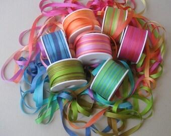 Rainbow mix - 14 metres of 7mm silk ribbon