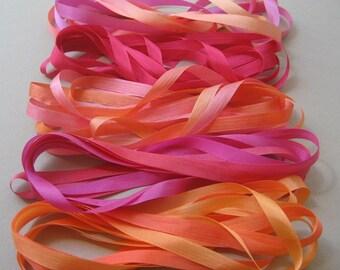Sunset mix - 10 metres of 7mm silk ribbon