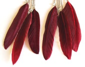 Feather earrings long deep red on silver chain