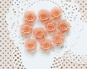10 Pcs Baby Pink Cabochon Flowers - Resin Rose 18mm