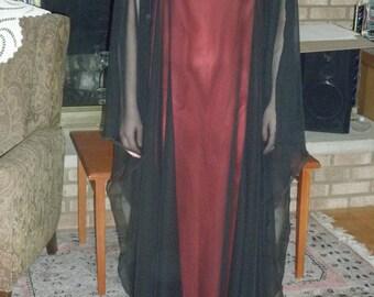 Ritual Robe Black Sheer on Red