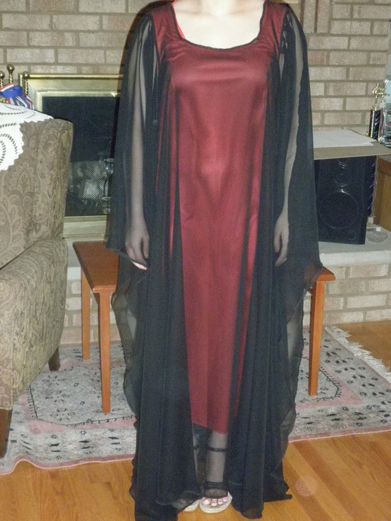 Ritual Robe Black Sheer on Red