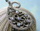 Sterling Silver Wire Wrapped Labradorite Paisley Pendant --ON SALE-- 20% OFF
