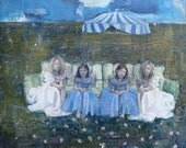 The Couch Series: The Tent, Art Print, Circus, Twins, Carnival, Tent, Side Show, Blue, Sky
