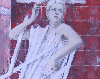 Woman, Picket Fence, Unique Fine Art, Art Print, 8 1/2 x 11, Pink, Red, Sale