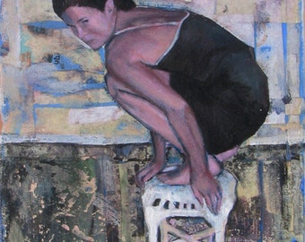 Portrait, Woman, Wicker, Stool, Blank, Art, Card, Purple, Paper