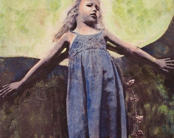 Phases of the Moon, Daughter, Blue Dress, Art Card, Blank Card, Fine Art Print, Made in the USA, Ready to Ship