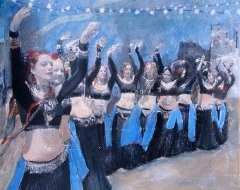 Gypsy, 8 x 8, Belly Dancers, Tribal Fusion, Unique Fine Art, Art Print, Wall Decor