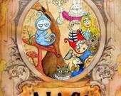 ALice in Wonderland Color Print from OOAK illustration Carmen Ellis