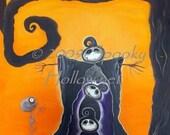 Big Guy Grimmy Grim Reaper 8 by 10 canvas print Halloween folk art