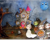 Print from Original illustration painting Halloween spooky hollow gang