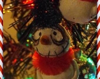 OOAK 1 Grimmy snowman ornament