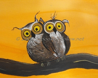 8 by 10 print from  my original painting hoot owl twins