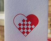 Letterpress Swedish/Norwegian Woven Heart Greeting Card