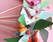 Shabby Chic Pinwheel Cupcake Toppers (12)