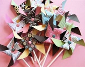 Letterbox Pinwheels for Cupcakes or decorations (12)