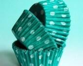 Mini Cupcake Liners 50  Green and White Polka Dot Baking Cups