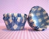 Ocean Blue Plaid Cupcake Liners (50)