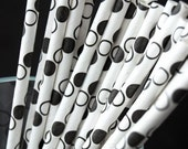 Black Polka Dots Paper Straws and Printable PArty Flags (25)