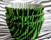 JUMBO Green Tiger Stripes Cupcake Liners (24)