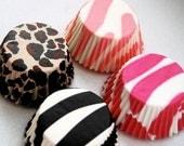 Mini Cupcake Liners Assorted Animal Print  40